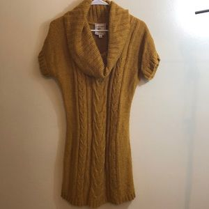 PINK ROSE Mustard Cable Knit Co Neck Sweater Dress